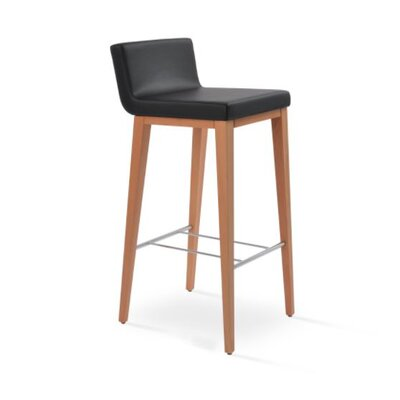 Dallas Wood 24 Bar Stool Upholstery: Leatherette-Black