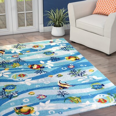 Chamberlin Blue Tropical Fish Area Rug Rug Size: Round 76