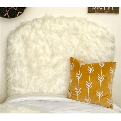 Hosler Mongolian Fur Arched Twin/Twin XL Upholstered Panel Headboard Upholstery: Off-White