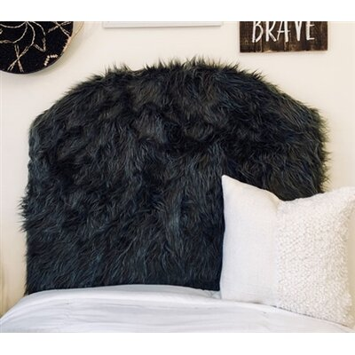 Hosler Mongolian Fur Arched Twin/Twin XL Upholstered Panel Headboard Upholstery: Charcoal