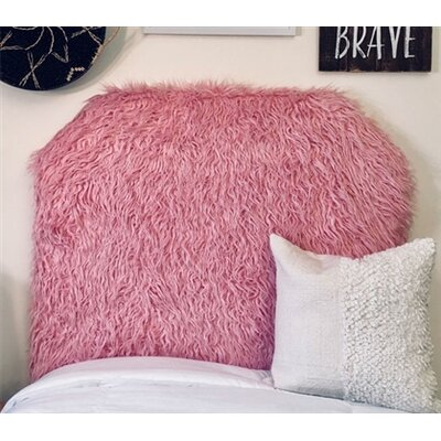 Hosley Mongolian Fur Beveled Twin/Twin XL Upholstered Panel Headboard Upholstery: Pink