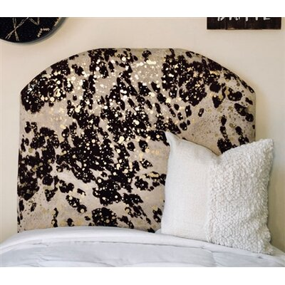Horsley Cow Hide Arched Twin/Twin XL Upholstered Panel Headboard Upholstery: Brown/Gold
