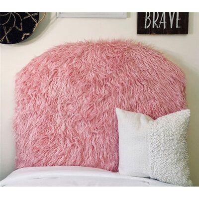 Hosler Mongolian Fur Arched Twin/Twin XL Upholstered Panel Headboard Upholstery: Pink