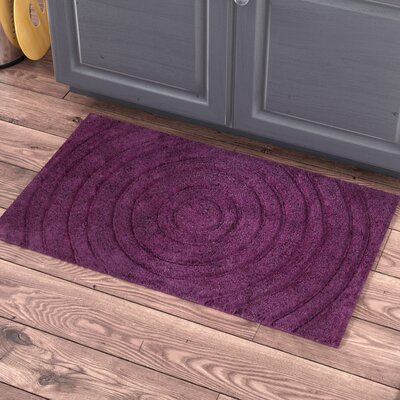 Felipe 100% Cotton Echo Spray Latex Back Bath Rug Size: 34 H X 21 W, Color: Aubergine