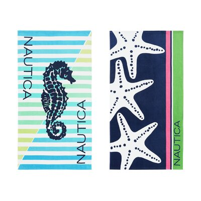 Seahorse Stripe/Three Star 2 Piece Beach Towel Set