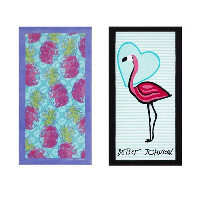 Allover Pineapple/Solo Flamingo 2 Piece Beach Towel Set