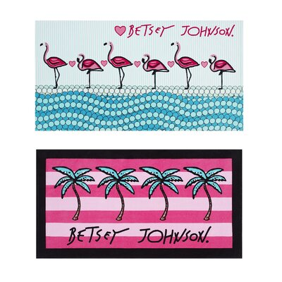 Flamingo Ocean/Palm Stripe 2 Piece Beach Towel Set