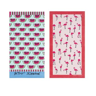 Watermelon Picnic/Flamingo Strut 2 Piece Beach Towel Set