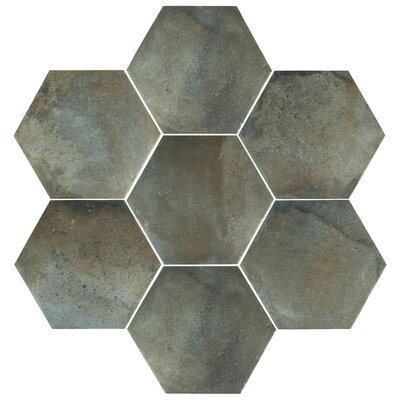 Victoria Ferro Hex 14.13 x 16.25 Porcelain Field Tile in Greige