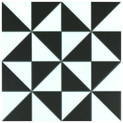 Chelsea 9.75 x 9.75 Porcelain Field Tile in Black/White