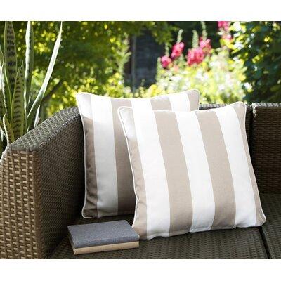 Fawcett Water Resistant Stripe Indoor/Outdoor Throw Pillow Color: Beige