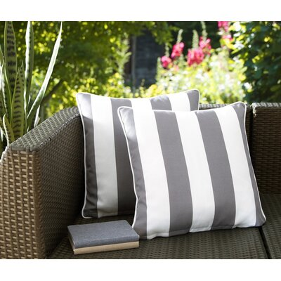 Fawcett Water Resistant Stripe Indoor/Outdoor Throw Pillow Color: Gray