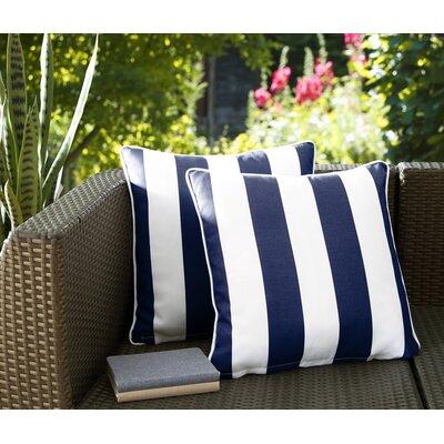 Fawcett Water Resistant Stripe Indoor/Outdoor Throw Pillow Color: Navy