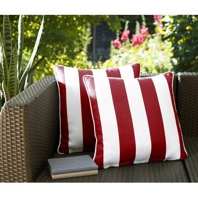 Fawcett Water Resistant Stripe Indoor/Outdoor Throw Pillow Color: Red