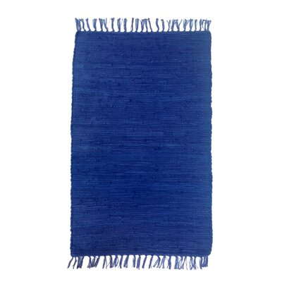 Buda Solid Hand-Flat Woven Cotton Navy Area Rug Rug Size: Rectangle 26 x 42