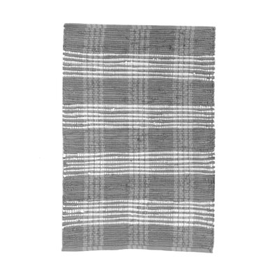 Veazey Plaid Hand-Flat Woven Cotton Gray Area Rug Rug Size: Rectangle 26 x 42
