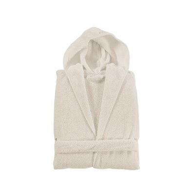 Elysian Hooded Bathrobe Color: Natural, Size: Small