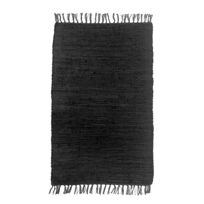 Buda Solid Hand-Flat Woven Cotton Black Area Rug Rug Size: Rectangle 2x3