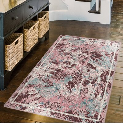 Parkhill Vintage Bohemian, Eclectic Pink Area Rug Rug Size: Rectangle 76 x 10