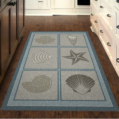 Howell Muted Beach Squares, Seashell Blue/Brown Area Rug Rug Size: Rectangle 26 x 310