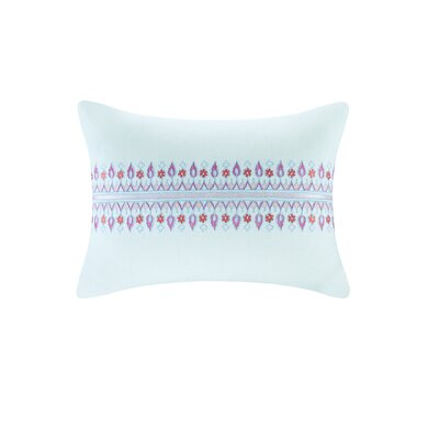Sofia Embroidered Oblong 100% Cotton Lumbar Pillow