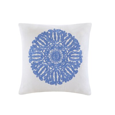 Ravi Embroidered Square 100% Cotton Throw Pillow