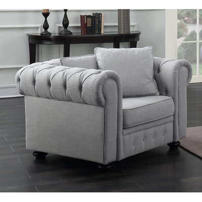 Metzger Chesterfield Chair Upholstery: Gray