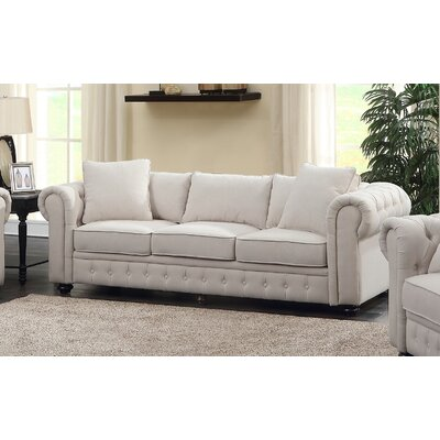 Metzger Chesterfield Sofa Upholstery: Beige