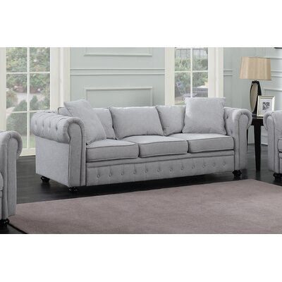 Metzger Chesterfield Sofa Upholstery: Gray