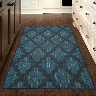 Flaherty Ikat Moroccan Trellis, Lattice Blue Area Rug Rug Size: Rectangle 76 x 10