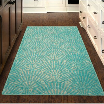 Howells Art Deco Aqua Area Rug Rug Size: Rectangle 34 x 5