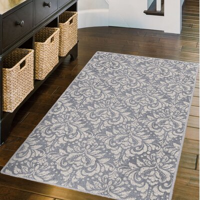Messner Antique Damask Lilac Gray Area Rug Rug Size: Rectangle 5 x 8