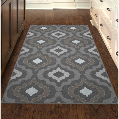 Flatt Modern Moroccan Trellis Gray/Brown Area Rug Rug Size: Rectangle 76 x 10
