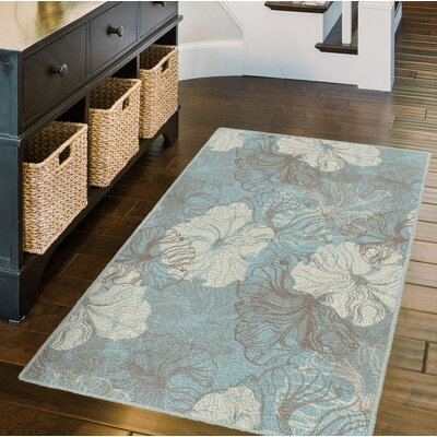 Honea Blue Grace, Floral Blue Area Rug Rug Size: Rectangle 34 x 5