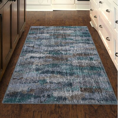 Fosse Ocean Waves, Vintage Abstract Blue Area Rug Rug Size: Rectangle 26 x 310