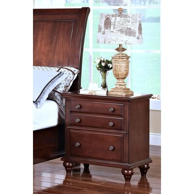 Xie 3 Drawer Nightstand