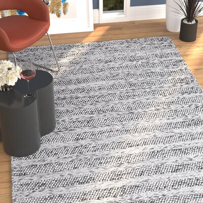 Ambridge H-Woven Wool Grey Area Rug Rug Size: 5 x 7