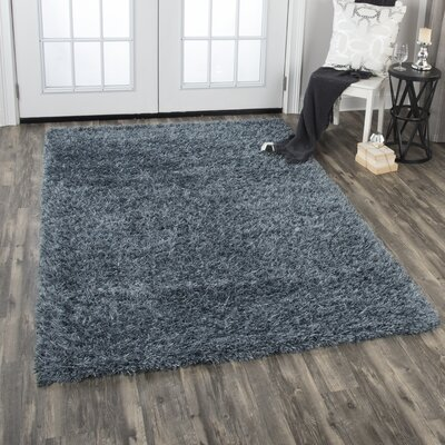 Frailey Shag Hand-Woven Wool Gray Area Rug Rug Size: Rectangle 9 x 12