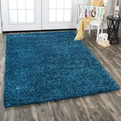 Fraise Shag Hand-Woven Wool Blue Area Rug Rug Size: Rectangle 5 x 8