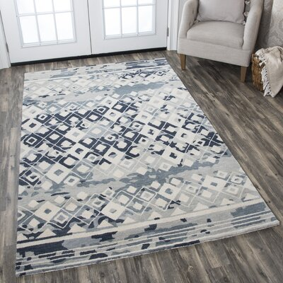 Hargis Hand-Tufted Wool Gray/Cream Area Rug Rug Size: Rectangle 5 x 8