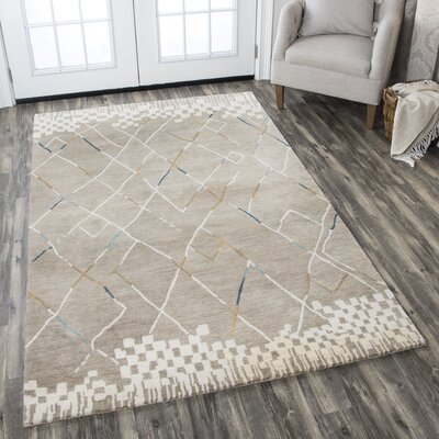 Hargis Hand-Tufted Wool Natural Area Rug Rug Size: Rectangle 5 x 8