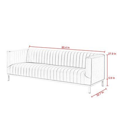 Winkleman Sofa Upholstery: Gray, Finish: Chrome