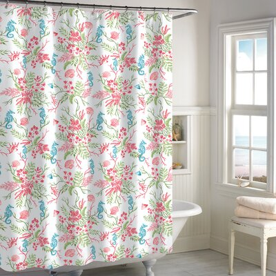 Holthaus Seaweed Shower Curtain Color: Coral