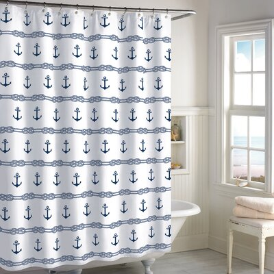 Eisenman Anchor Stripe Cotton Shower Curtain