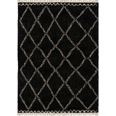Darren Trellis Black Area Rug Rug Size: Rectangle 53 x 76