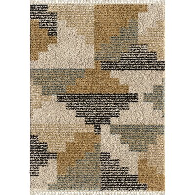 Damon Blocks Ivory Area Rug Rug Size: Rectangle 53 x 76