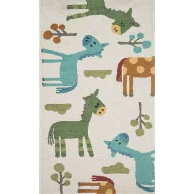 Izayah Kids Hand-Hooked Ivory Area Rug Rug Size: Rectangle 23 x 39