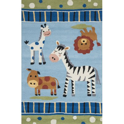 Izayah Kids Hand-Hooked Blue Area Rug Rug Size: Rectangle 36 x 56