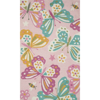 Izayah Kids Hand-Hooked Pink Area Rug Rug Size: Rectangle 23 x 39
