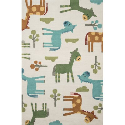 Izayah Kids Hand-Hooked Ivory Area Rug Rug Size: Rectangle 36 x 56